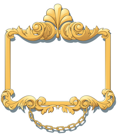 Gold heraldic cartouches for an decorate of projects. Design element. Illustration