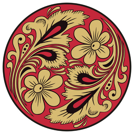 the motive: Vegetable pattern in traditional russian motive of the round form.