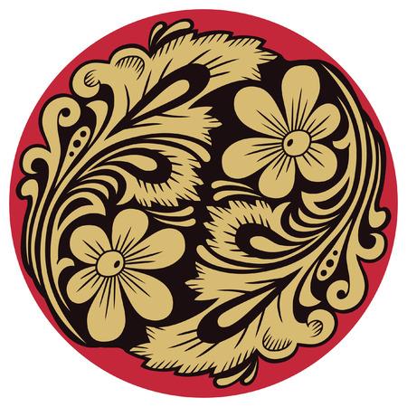 Plantaardige patroon in traditionele Russische motief van de ronde vorm.