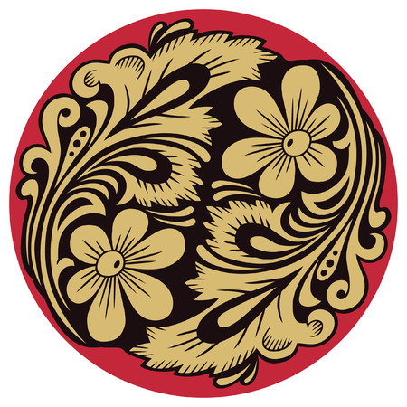 Vegetable pattern in traditional russian motive of the round form.