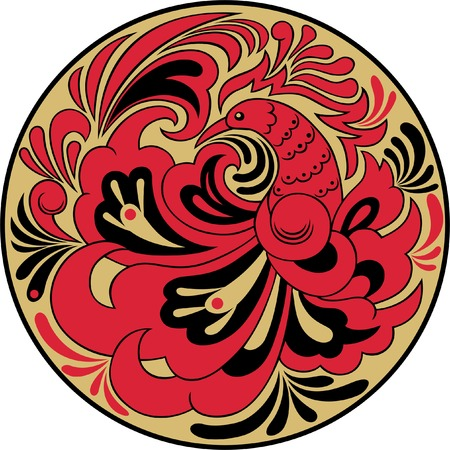 Round pattern with a bird, executed in traditional Russian style. Illustration