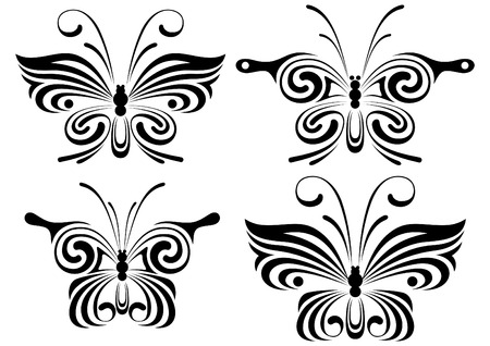 manner: The stylised butterflies in a modern manner. A design element.
