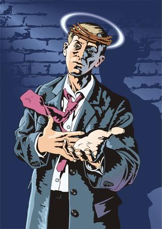 melancholy: Man met een uitgestrekte arm en een grimas op een gezicht.
