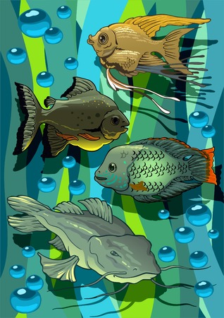 Colour print with amusing aquarian small fishes. Vector