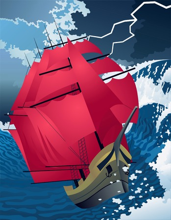 The ship with scarlet sails during a storm. Vector Illustration