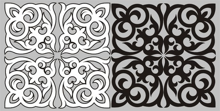 kazakh: Pattern in traditional national style of Kazakhstan. A design element.