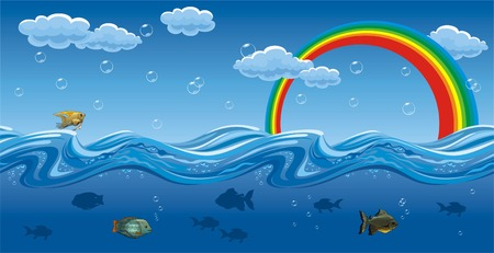 Horizontal seamless illustration of the water waves, fish, rainbows and sky with cloud. Vector