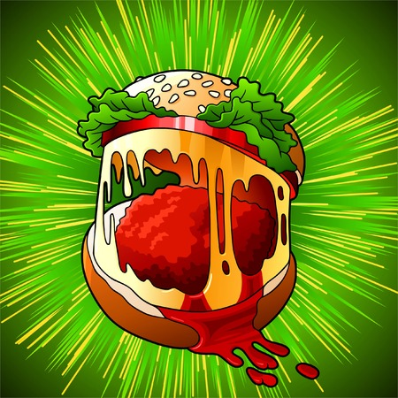 eating burger: Appetizing sandwich in the form of an animal mouth Illustration