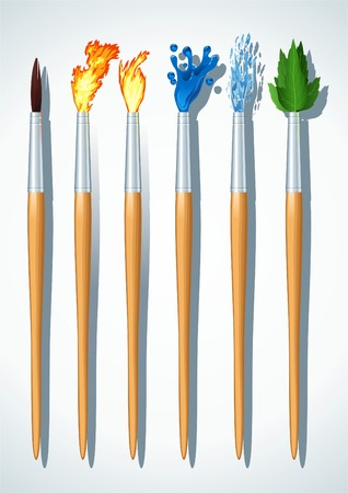 unrealistic: Set of the unrealistic Brushes painter. The Abstract fantasy. Illustration