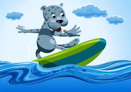 Snow leopard drives surfing on water.