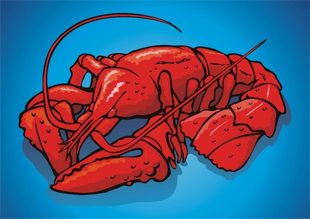 scene boiled red crayfish.