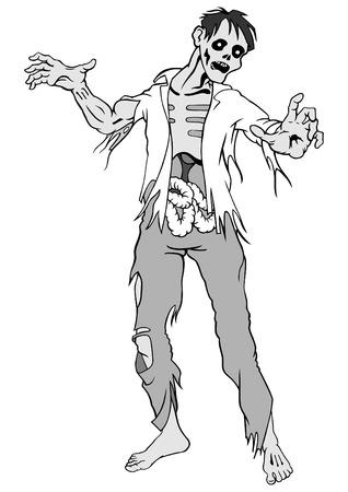 Zombie distinct sur un fond blanc. Illustration du vecteur.