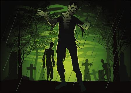 Illustratie van een begraafplaats van de kleur met het kwaad walking dead.