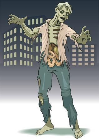wnętrzności: Koszty lonely zombie na tle miasta krajobrazu.