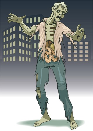 The lonely zombie costs on background city landscape. Illustration