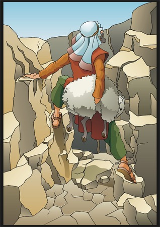 shepherd: The shepherd rescues the lost sheep  Illustration