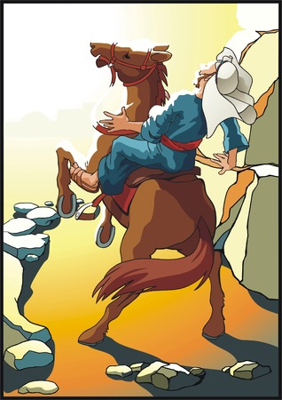 Scene from a bible parable about apostle Paul  Illustration