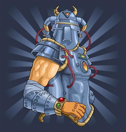 the knight in a futuristic armor. Vector