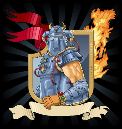 Heraldic symbol with the knight in an armor. A vector image. Illustration