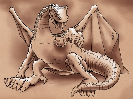 winged dragon: Cartoon outline illustration of a winged dragon