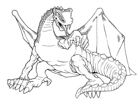 drago alato: Cartoon illustrazione di contorno di un drago alato