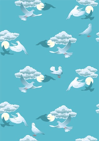 Seamless background with pigeons in the sky. Vector