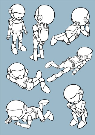Set of astronauts in different poses. Vector illustration. Illustration