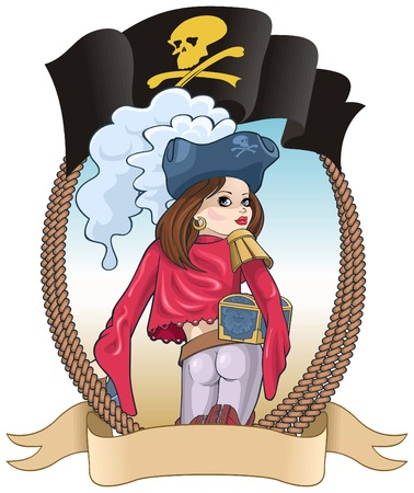 illustration of the girl of the pirate with a sword and a chest.