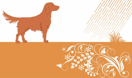 Baner with dog and floral ornament. Stock Vector - 8779499