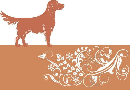 Baner with dog and floral ornament. Vector