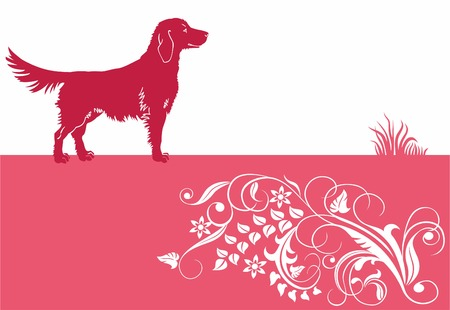 Baner with dog and floral ornament. Stock Vector - 8779501