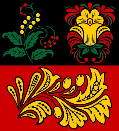 Vegetative pattern in traditional Russian style. Design element. Vector