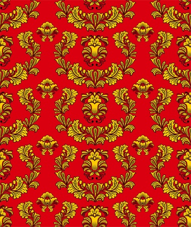 vegetative: Seamless vegetative pattern in traditional Russian style. Illustration