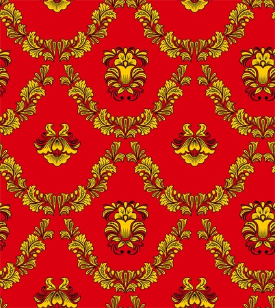 Seamless vegetative pattern in traditional Russian style. Illustration