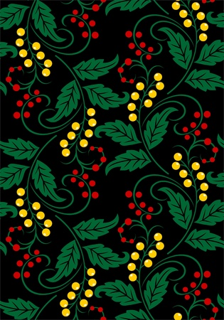 Seamless vegetative pattern in traditional Russian style. Vector