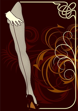 Background for the sample text with elements of ornaments and pin-up. Illustration