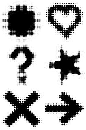 Vector halftone symbols. A design element. Illustration