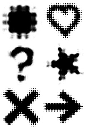Vector halftone symbols. A design element. Illustration