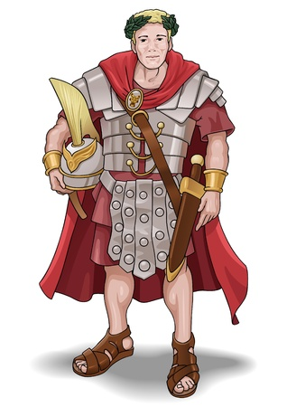 Vector illustration of the roman soldier without background.