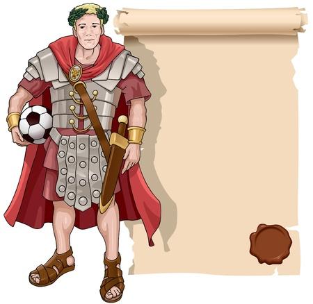 Vectorillustratie van de Romeinse soldaat met een voetbal en een scroll achtergrond.