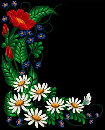 Bloemensamenstelling met vastgestelde bloem en kruid op zwarte achtergrond Vector Illustratie