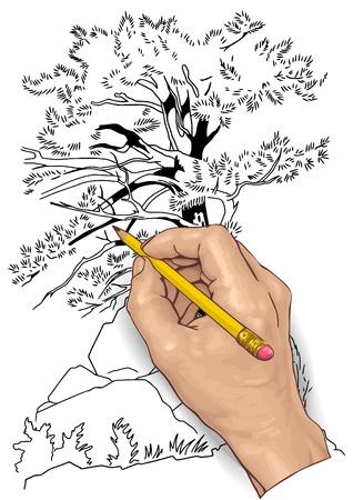 Ilustración vectorial de una mano con un lápiz de dibujo.