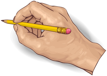 hand draw: vector illustration of an hand drawing with a pencil.