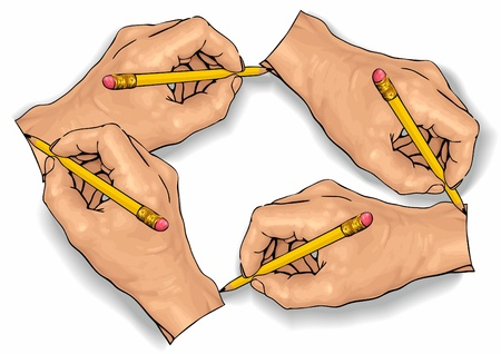Vector illustration of an four hand drawing with a pencil. Illustration
