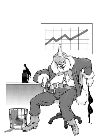 revelry: Sleeping Santa Claus after cheerful corporative