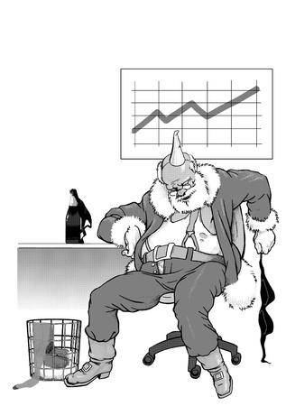 corporative: Sleeping Santa Claus after cheerful corporative