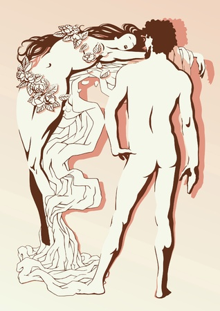 nude man: Vector illustration of the nude man and the woman in romantic style