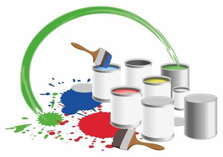ink pot: macetas de imagen con una pintura de color. Vectores