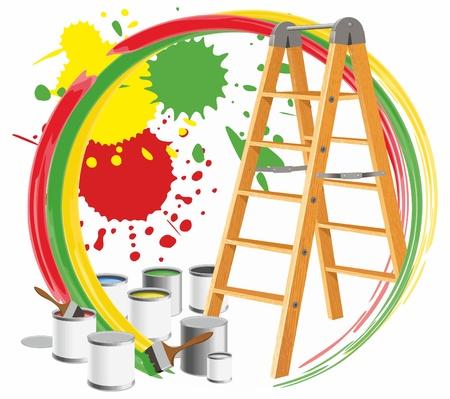 버킷: 페인트와 단계 - 사다리와 추상적 인 그림. 일러스트