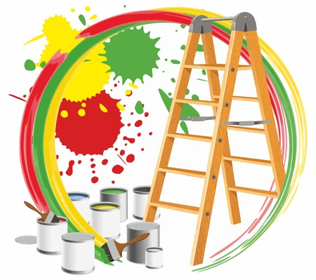Abstract picture with paints and a step-ladder. Vector